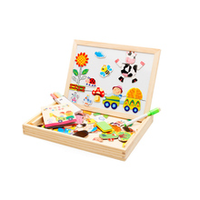 Chanycore Baby Learning Educational Wooden Toys Puzzle Jigsaw Board Farm Animal Whiteboard Matching Enlightenment Gifts 4044