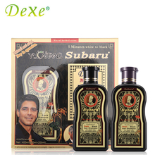 2pc=1set Dexe Hair Color Black Hair Shampoo 200mlX2 Chinese Herbal Medicine Hair Dry No Contamination 5 Minutes White To Black(China)