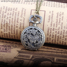 2015 new Arrive Antique Beautiful Butterfly Flower Pocket Chain Quartz Pendant Watch Necklace Lady Women New Best Gift P300