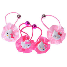 Children Fancy Cute Baby Girl Headwear Wholesale 2 Pieces Cute Flower Elastic Hair Clip Rubber Hairbands Birthday Gift