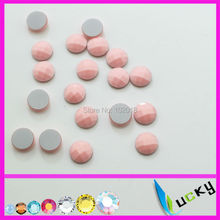1440PCS 8mm free shipping half round shape light pink color hotfix epoxy flatback pearl perfect look