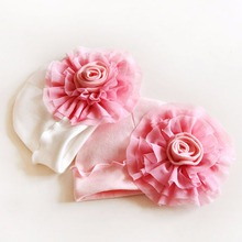 Princess Baby Girl Hats Infant's Toddler's Child's Lovely Big Flower Soft Cap Cotton newborn baby photography accessories(China)