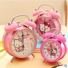 New Arrive High Quality Sweet Pink Hello Kitty Metal Luminous Table Digital Alarm Clock Desk Clocks Anime Children 11.6*16*5.5cm(China)