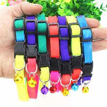 Rainbow Color Pet Dog Cat Collar with Bells 1cm Width Adjustable 20-34cm Length for Small Dogs Holiday Beauty Bells pet products