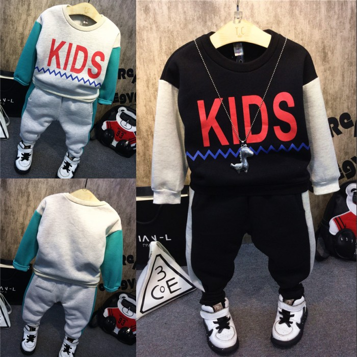 Baby boy qiu dong with velvet suits the new 2016 childrens wear thickening two-piece free shipping<br><br>Aliexpress