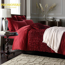 Night Tender wedding flower applique washed silk bedding set duvet cover bed skirt shams 6pcs king queen size,burgundy(China)