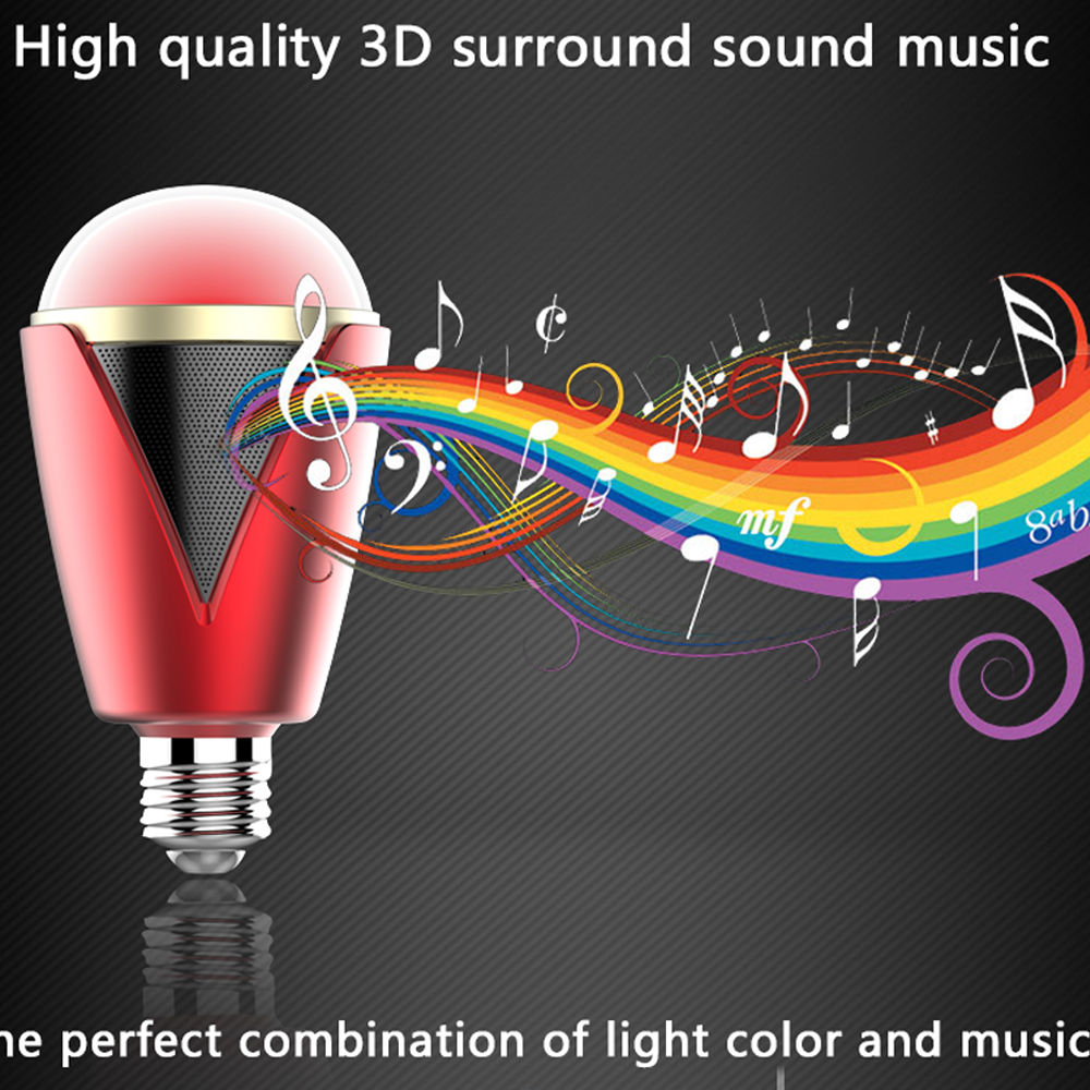 Portable Wireless Bluetooth Speaker Custom LED E27 Light Show for Party Music Red Color<br><br>Aliexpress