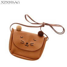XZXBBAG Children PU Messenger Bags Girl Cute Cat Embroidery Flap Pouch Kids Cartoon Crossbody Case Girl Mini Shoulder Bags(China)