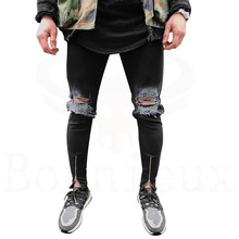 Hi Street Popular Mens Jeans Washed Hole Jeans Casual Men's Slim Fit Jogger Jeans/pants(China)