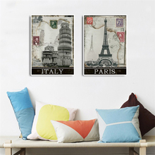 2 Pieces Canvas Wall Art Vintage Home Decor Printed Oil Painting Decorative Pictures Set Italy Paris Retro Poster Panel No Frame