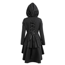 ZAFUL Women Trench Plus Size Lace Up High Low Hooded Coats Female Outwear Autumn Women Layered Gothic High Waist Trench Coats(China)