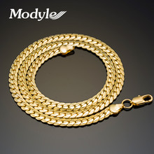 Modyle 2017 New Fashion Men Jewelry 4-8mm Wide Gold-Color Long Chain Necklace For Men Wholesale Free Shipping(China)