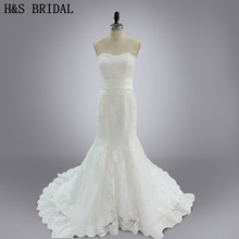 Real Model Vestido de noiva Custom made V Neck Sweetheart Lace Wedding Gown Bridal Dresses(China)