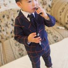 2017 New Children's Clothing Set England Gentleman Boys Party Wedding Suits Baby Boy Formal Plaid Long Sleeves Sets Kid's Cloth(China)