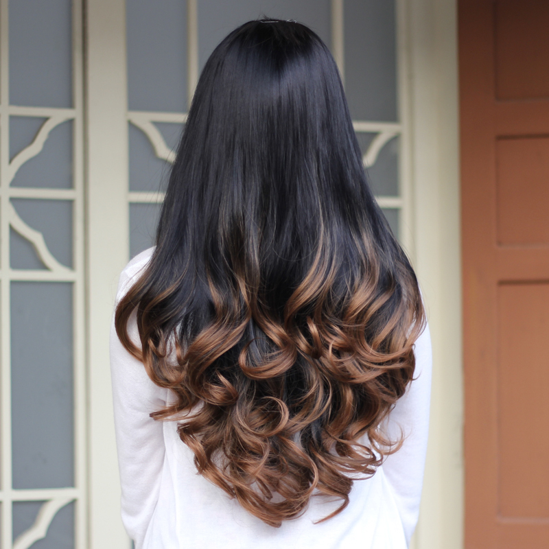 Synthetic Half Wig Curly Hair Long Wavy Ombre Half Wigs for Women Female Curly Fake Hair Wig Cheap Realistic Ladies Drag Queen<br><br>Aliexpress