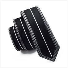 2017 Fashion Slim Tie White Pattern Frame Line and  Black Skinny Narrow gravata Silk Ties For men 6cm width Wedding dress E-112