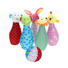 Plush Cartoon Bowling with Ring Bell Sound Toy Infant Baby Kids Developmental Rattle Toy Bed Stroller Crib Hanging Handbell Toy(China)