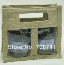 T086,Free Shipping,100pcs/lot,20X20X9cm,Two 2 bottles Jute Jar Bag Clear PVC Window Divider Die Cut Handle,Custom Design Accept(China)