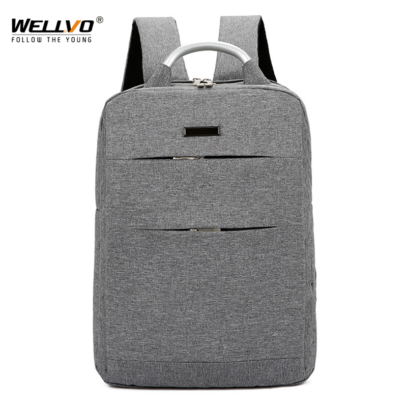 Laptop Backpack Mens Canvas Business Backpack Slim Computer Large Capacity Travel Bag for Teenagers Solid Unisex Mochila XA82WC<br>