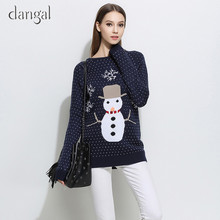 Christmas Sweater Women With Snowman Ladies Christmas Sweater Ugly Cute Sweaters for Women Warm Long Sleeve Grey Blue Sweater