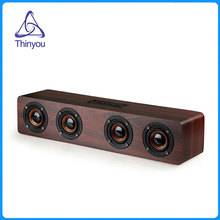 Thiniyou Wooden Wireless Bluetooth Speaker 3W*4 HiFi TF Card AUX Subwoofer Portable Speakers for TV Home Theatre Wood Sound Bar