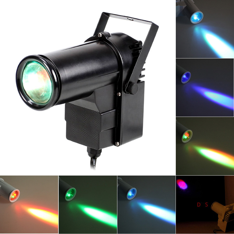 Black 9W full Color Stage Lighting Pin RGB LED DJ Effect Light Voice-activated Stage Light AC90-240V Spotlight Projector Light <br><br>Aliexpress