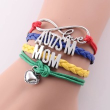 infinity love AUTISM MOM MUM SISTER DAD NANA GRANDMA AUNT Awareness bracelet heart charm leather bracelets & bangles