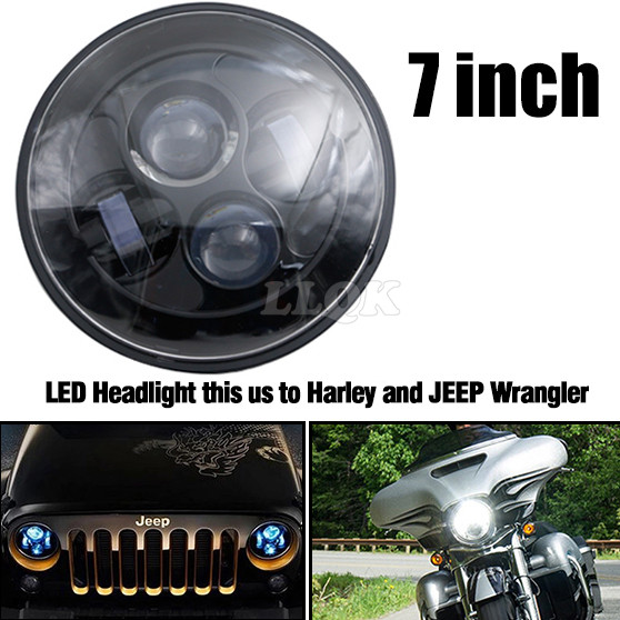 Motorcycle LED Head Light For Harley Davidson Touring sportster 883 1200 electra street glide stichers softail road king 7 Inch<br><br>Aliexpress
