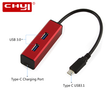 CHYI Type-C USB-C to 2 Ports USB 3.0 Hub with Type C Charging Port Fashion Design Red USB3.0 Hub Adapter For Tablet HuaWei Mate(China)