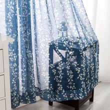 Rural special cotton sheer curtains blue window screens finished bedroom printing finished product for living room