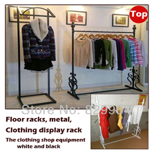 The metal floor racks clothing shops display rack,large capacity of hangers,black coat racks,bedroom furniture armario ropero(China)