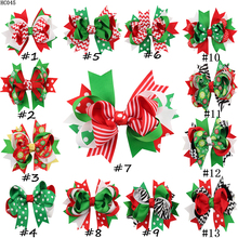 30pcs/lot Christmas hair bows with single hair clips -Handmade ribbon fabric hair bows decorative Bows(China)