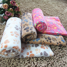 2016 New Pet Supplier Dog Bed Mat Cute Floral Warm Paw Print Bed Puppy Dog Blanket Soft Fleece ZL77