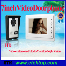 "7"" TFT LCD Color Video Doorphone Doorbell Intercom System with Night Vision Camera for Villa Home Apartment"