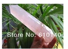 free shipping SHIP LONG NATURAL ROSE QUARTZ CRYSTAL POINT Healing 0002(China)