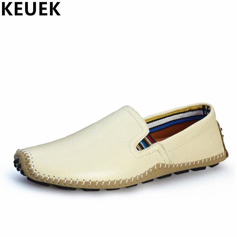 Men casual shoes Big size Genuine leather Breathable Loafers Male Slip-On Flats Driving shoes Outdoor Boat Shoes 3A<br>