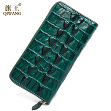 QIWANG 2017 Genuine Leather Women Wallets Crocodile 3D Head Fashion Trending Purse Wallet Alligator Pattern Long Wallet Women