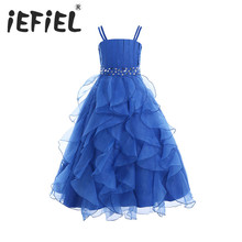 iEFiEL Kids Girls Embroidered Flower Bow Formal Party Ball Gown Prom Princess Bridesmaid Wedding Children Tutu Dress Size 4-14Y(China)