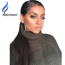 "Alicrown Straight Lace Front Human Hair Wigs Free Part Brazilian Remy Hair Wig 8""-24""Pre Plucked Natural Hairline(China)"