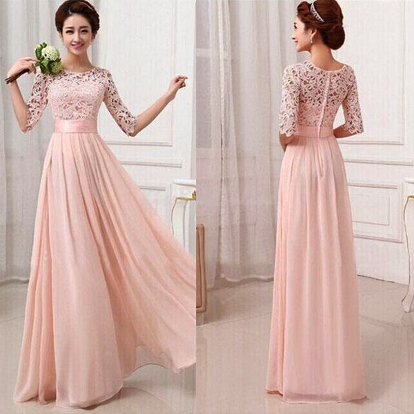 New Brand Bridesmaid Dresses Women Half Sleeve Lace Chiffon Princess Long Wedding Party Dress Vestidos 3 Colors Available(China (Mainland))