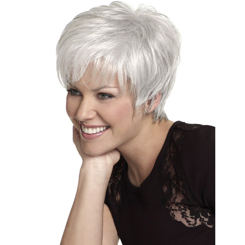 Deyngs Heat Resistant Synthetic Silver Grey Short Curly Wigs For Old Women 8inch Natural Hair Peruca Sintetica Free Shipping<br><br>Aliexpress