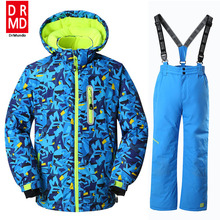 Boys Ski Jackets Suits kids Snowboard Jackets Suit Winter Mountain Skiing Clothes Coat Snow Waterproof Outdoor Children Ski Set(China)