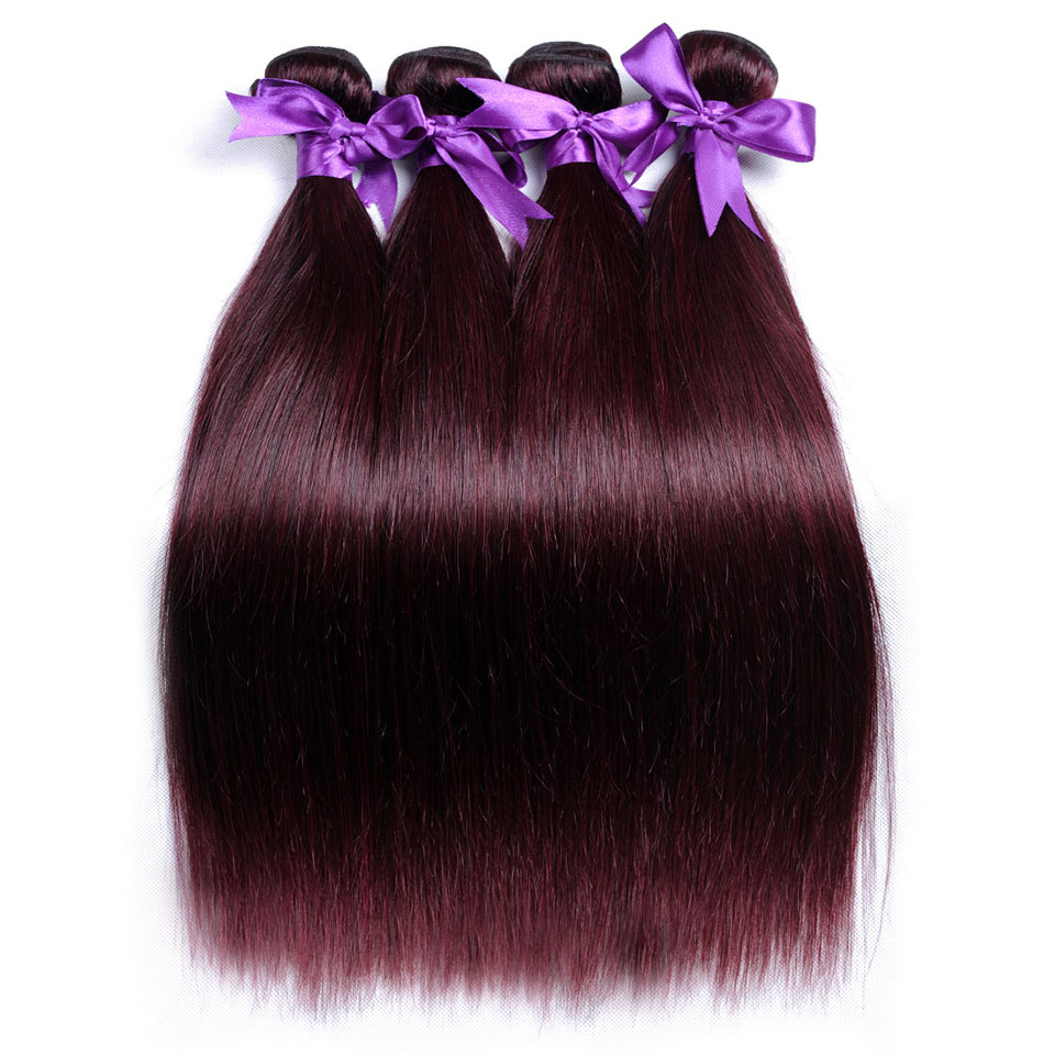Pinshair Burgundy Straight Hair Bundles Deals Human Hair Weave 4 Bundles Non Remy Pre-colored Brazilian Hair Extensions No Smell (56)