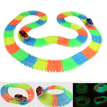 Magic Tracks Bend Flex Glow in the Dark Assembly Toy 162/165/220/240pcs Race Track + 1pc LED Car Pistes Magiques