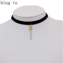 Bing Tu Double Layer Black Brown Velvet Choker Necklace Gold Color Arrow Pendants Women Fashion Accessories Clavicle Necklaces(China)