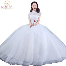 Sleeved Wedding Gown China Bridal Dresses High Collar Lace Wedding Dress with Bow 2017 Short Sleeves Ball Gown Cheap robe en den