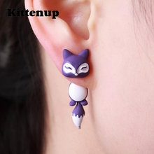 Kittenup New Fashion Yellow Purple Black Animal Cute Fox Stud Earrings For Women Jewelry Gifts 0418(China)