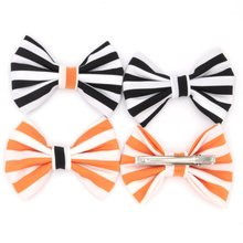 12pcs/lot 4'' Stripped Cotton Bow With Clips Halloween Festival Hair Bow Clips for Headband Black/Orange Hair Accessory News(China)