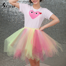 Puffy 20 Patchwork Layers Tulle Skirt Unicorn High Waisted 20 Colors Mini Skirts Womens Adult Tutu Pleated Stage Faldas Premium