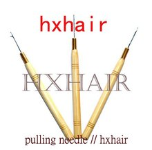 Wholesale - 10pcs Wooden Handle Pulling Needle /wooden hook needle for Micro Rings / Loop Hair Extension Tools(China)